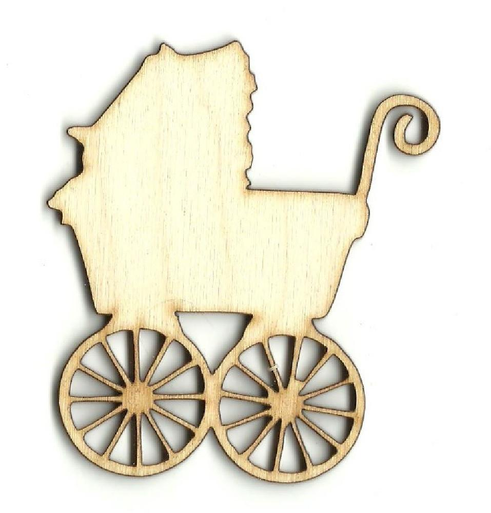 Baby Carriage - Laser Cut Wood Shape Bby35 Craft Supply