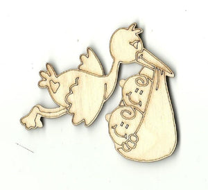 Stork With Twin Babies - Laser Cut Wood Shape Bby12 Craft Supply