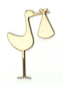 Stork With Baby - Laser Cut Wood Shape Bby1 Craft Supply