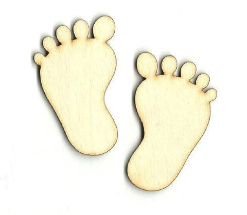 Baby Feet - Laser Cut Wood Shape Bby2 Craft Supply