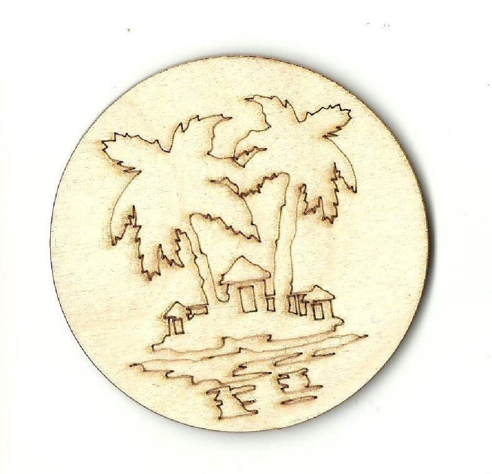 Palm Tree Island - Laser Cut Wood Shape Bch11 Craft Supply