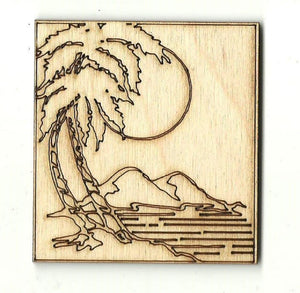 Beach Scene - Laser Cut Wood Shape Bch17 Craft Supply