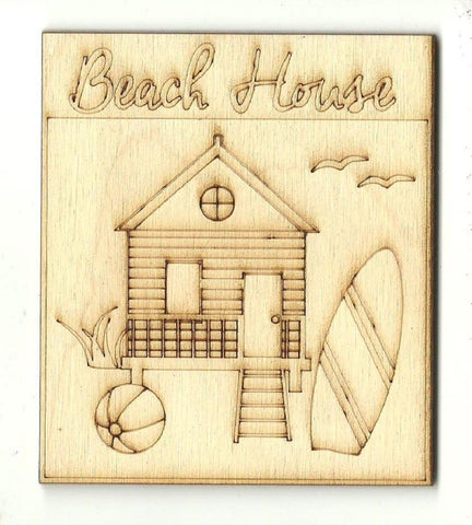 Beach House Sign - Laser Cut Wood Shape Bch18 Craft Supply