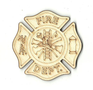 Fire Dept. Badge - Laser Cut Wood Shape Bdg10 Craft Supply