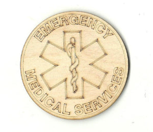 Emergency Medical Services Badge - Laser Cut Wood Shape Bdg11 Craft Supply