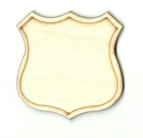 Badge Shield - Laser Cut Wood Shape Bdg2 Craft Supply