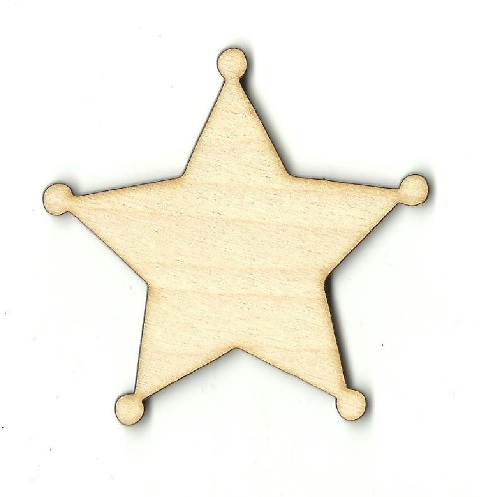Sheriff Star Badge - Laser Cut Wood Shape Bdg16 Craft Supply