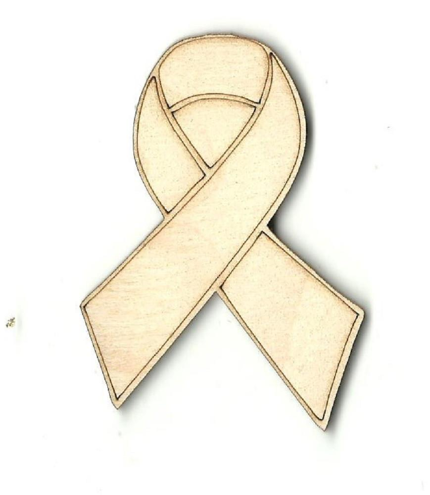 Hope Ribbon Badge - Laser Cut Wood Shape Bdg3 Craft Supply