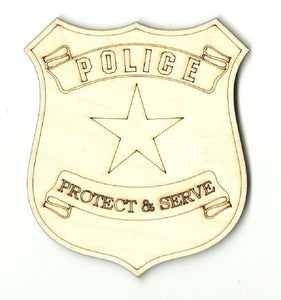 Police Badge - Laser Cut Wood Shape Bdg4 Craft Supply