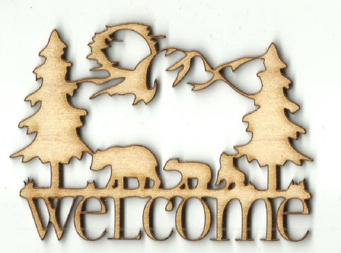 Bear Welcome Sign - Laser Cut Wood Shape BER46