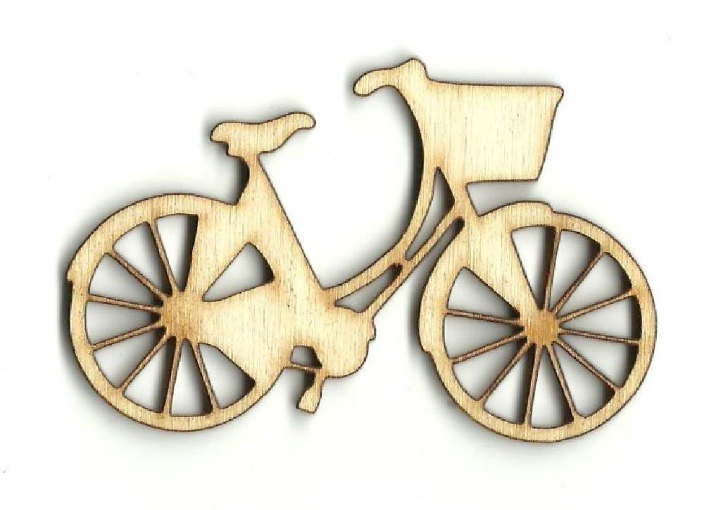 Bicycle With Basket - Laser Cut Wood Shape Bik12 Craft Supply