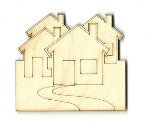 Houses - Laser Cut Wood Shape Bld14 Craft Supply