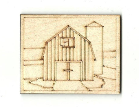 Barn & Silo Farm Scene - Laser Cut Wood Shape Bld31 Craft Supply