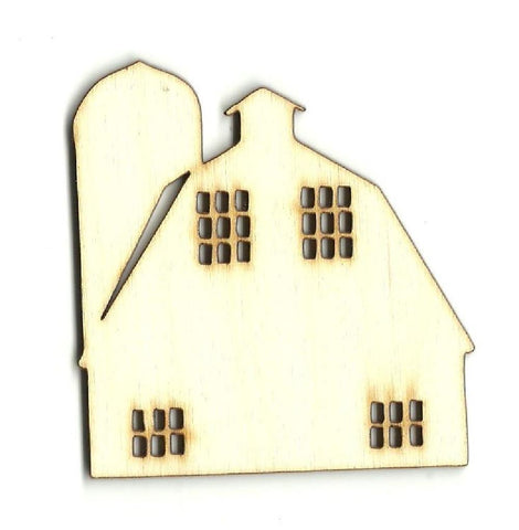 Barn with Silo - Laser Cut Wood Shape BLD64