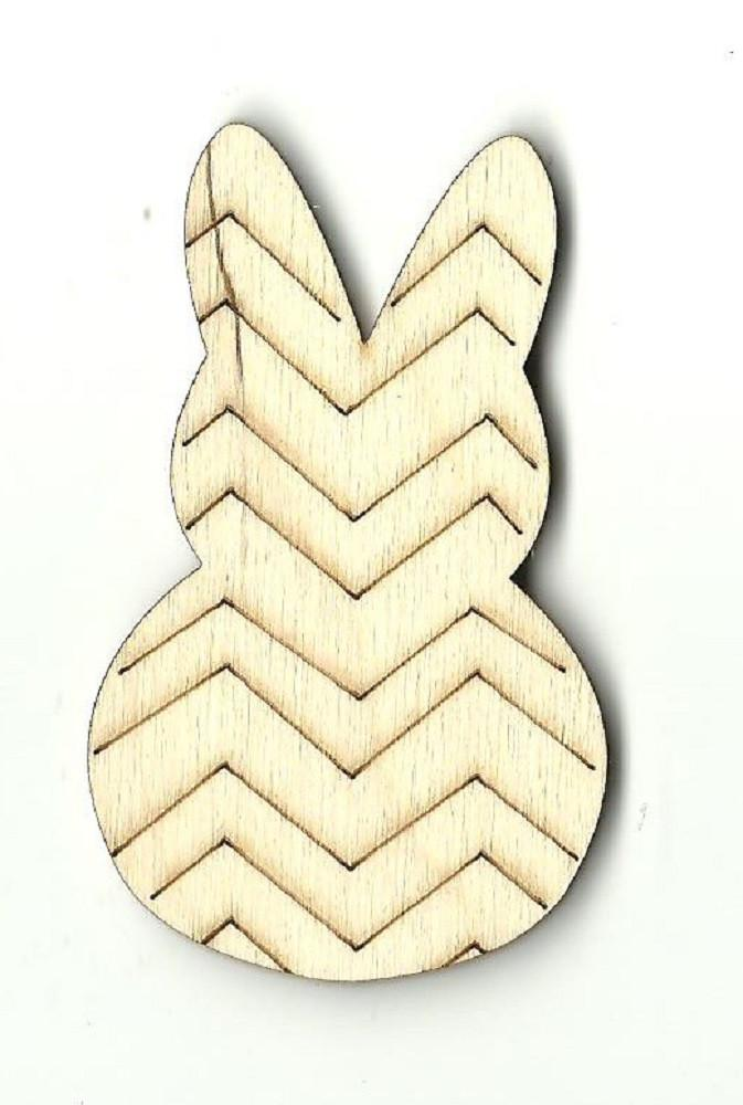Chevron Striped Bunny Rabbit - Laser Cut Wood Shape Bny11 Craft Supply