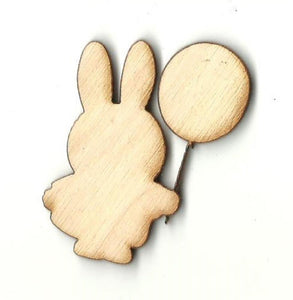 Bunny Rabbit with Balloon - Laser Cut Wood Shape BNY22