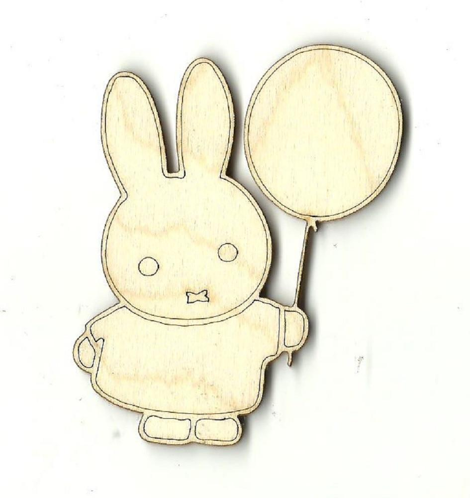 Bunny Rabbit Holding A Balloon - Laser Cut Wood Shape Bny9 Craft Supply