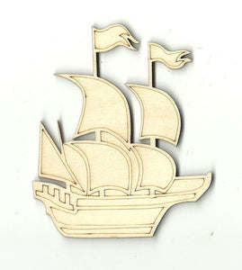Sailing Pirate Ship - Laser Cut Wood Shape Bot2 Craft Supply