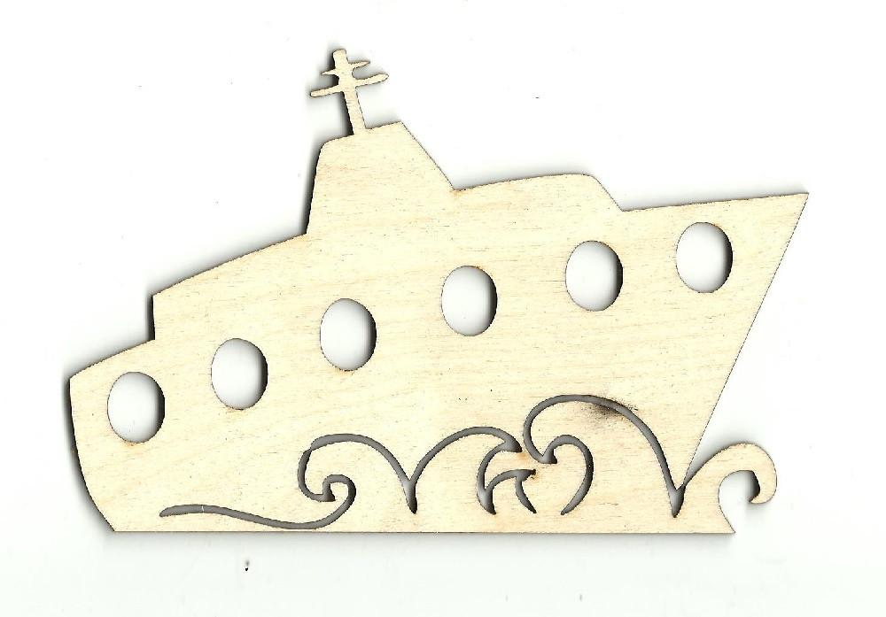 Ship - Laser Cut Wood Shape Bot4 Craft Supply