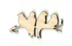 4 Birds On A Branch - Laser Cut Wood Shape Brd137 Craft Supply