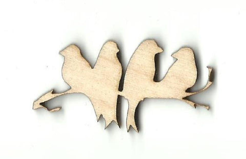 4 Birds on a Branch - Laser Cut Wood Shape BRD137