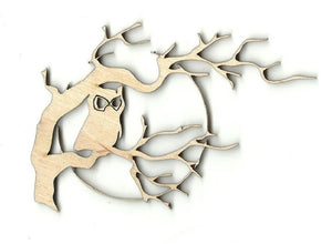 Owl In A Tree - Laser Cut Wood Shape Brd14 Craft Supply