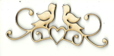 Birds & Heart - Laser Cut Wood Shape Brd172 Craft Supply