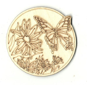 Butterfly In Flowers Scene - Laser Cut Wood Shape Bug19 Craft Supply