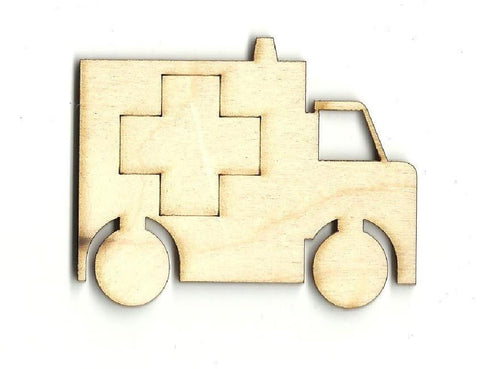 Ambulance - Laser Cut Wood Shape Car11 Craft Supply