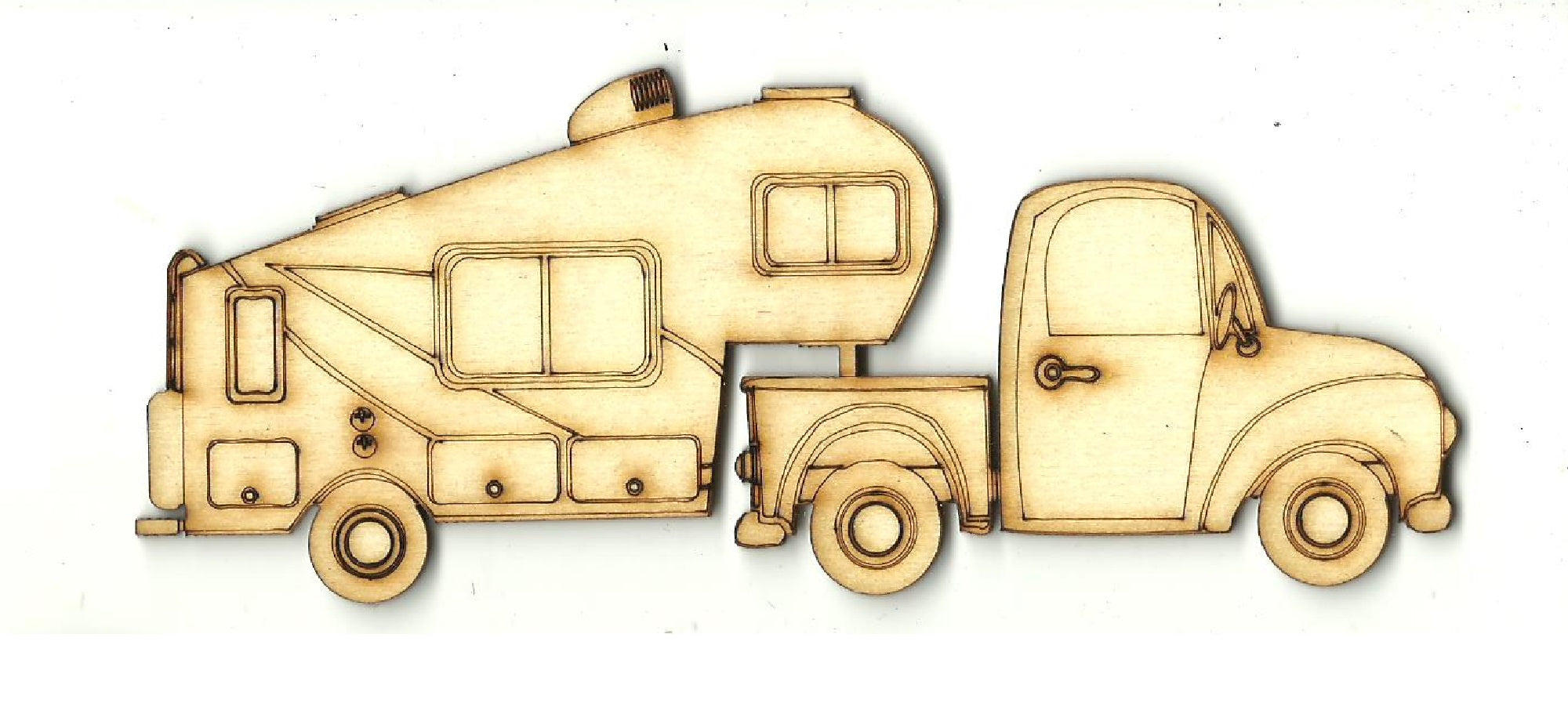 Truck with Fifth Wheel Camper - Laser Cut Wood Shape CAR129