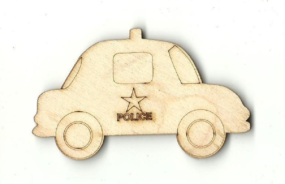 Police Car - Laser Cut Wood Shape Car33 Craft Supply
