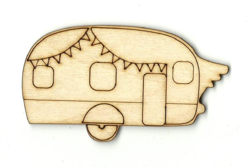 Camper Trailer - Laser Cut Wood Shape Car75 Craft Supply