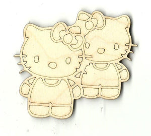 Two Kitty Cats - Laser Cut Wood Shape Cat10 Craft Supply