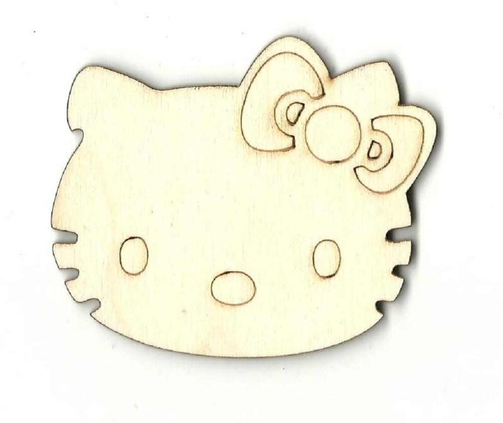 Kitty Cat Face - Laser Cut Wood Shape Cat2 Craft Supply