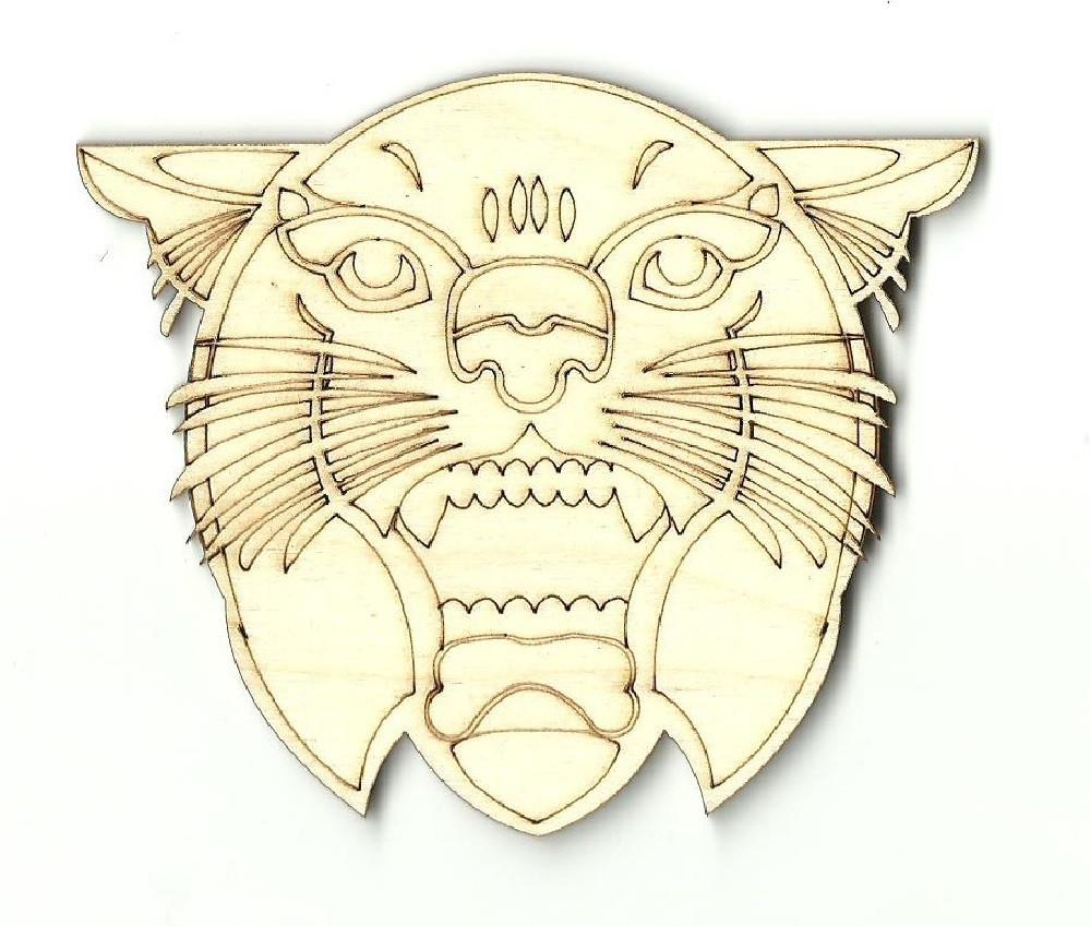 Wild Cat Face - Laser Cut Wood Shape Cat3 Craft Supply
