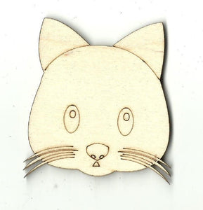 Kitty Cat Face - Laser Cut Wood Shape Cat4 Craft Supply