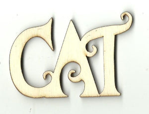 Cat - Laser Cut Wood Shape Cat5 Craft Supply