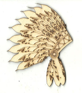 Indian Headdress - Laser Cut Wood Shape Clt90 Craft Supply