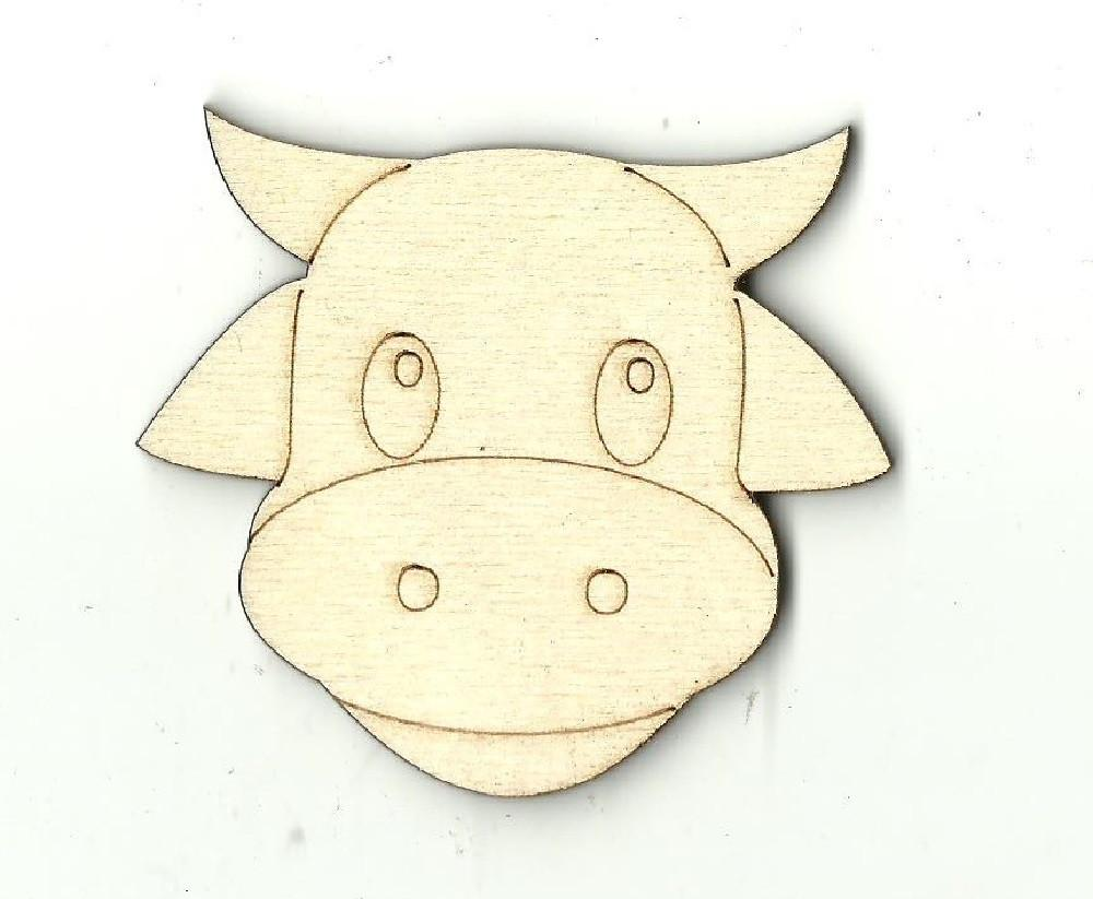 Cow Face - Laser Cut Wood Shape Cow2 Craft Supply