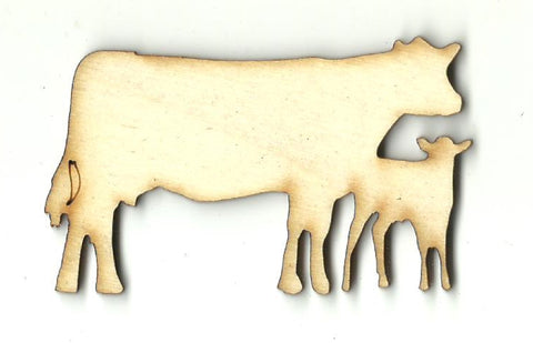 Cow & Calf - Laser Cut Wood Shape COW30