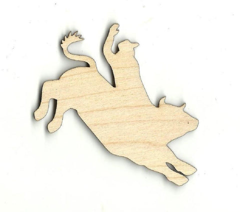 Bullrider - Laser Cut Wood Shape Cow7 Craft Supply