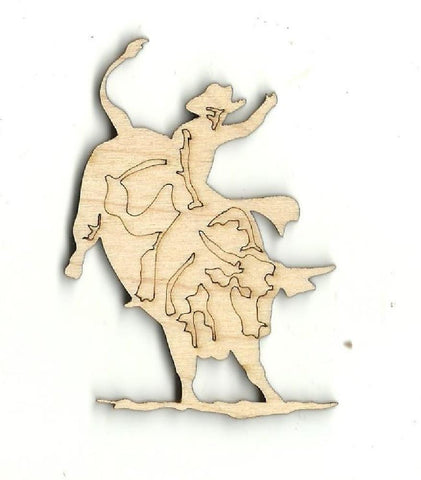 Bullrider - Laser Cut Wood Shape Cow8 Craft Supply