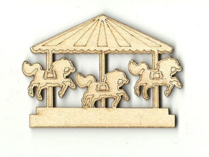 Carousel Merry Go Round - Laser Cut Wood Shape Crc6 Craft Supply