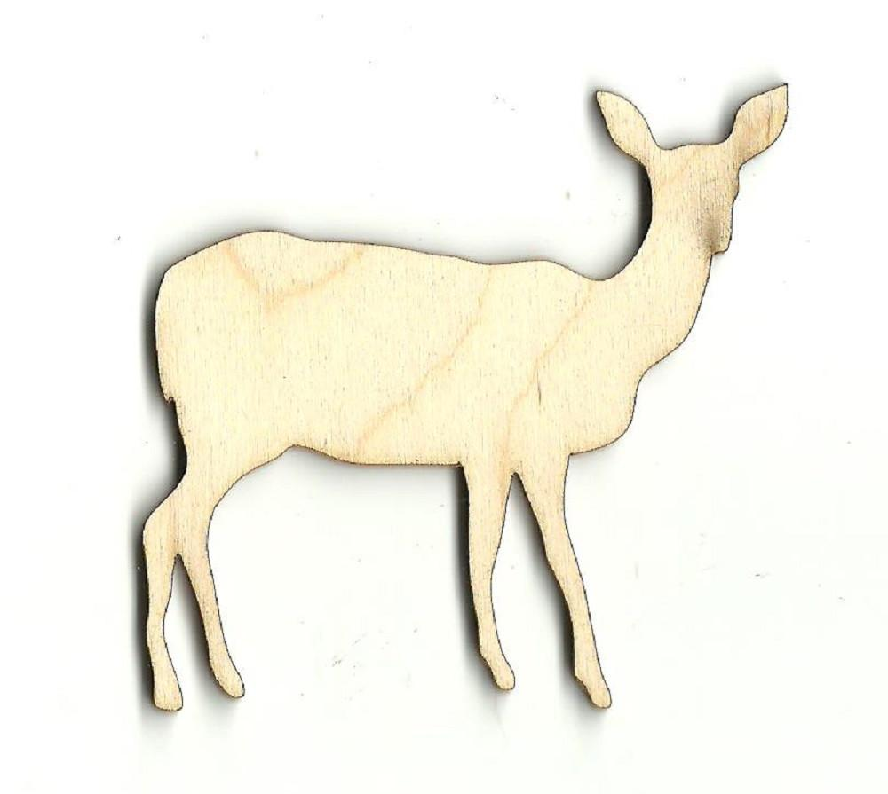 Deer - Laser Cut Wood Shape Der4 Craft Supply