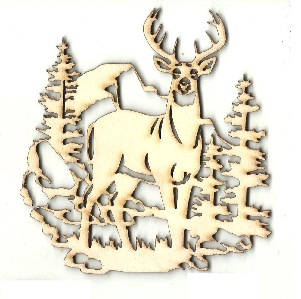 Deer Scene - Laser Cut Wood Shape Der59 Craft Supply