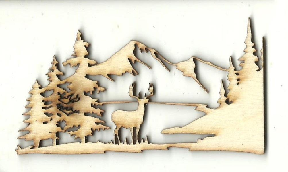 Deer Scene - Laser Cut Wood Shape Der60 Craft Supply