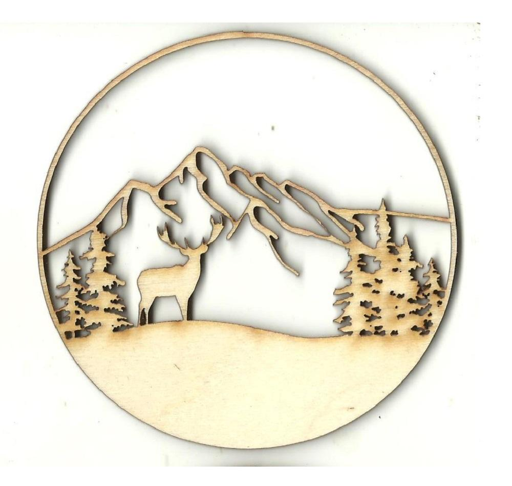 Deer Scene - Laser Cut Wood Shape Der66 Craft Supply