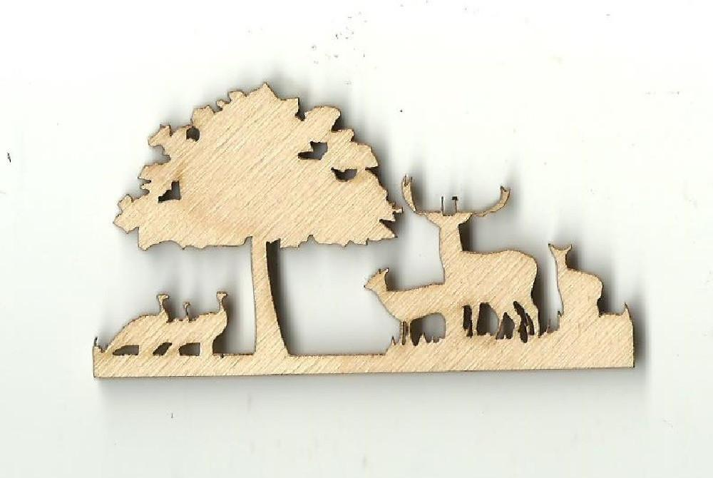 Deer & Turkey Scene - Laser Cut Wood Shape Der8 Craft Supply