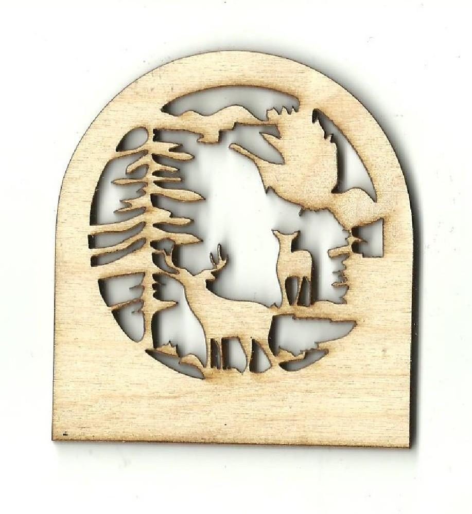 Deer Scene - Laser Cut Wood Shape Der9 Craft Supply