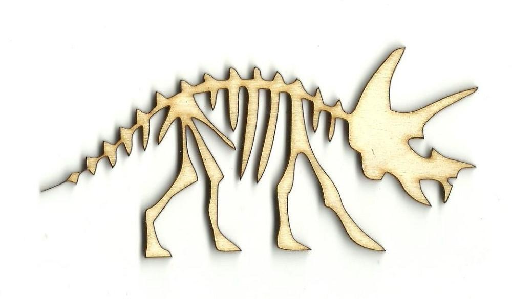 Triceratops Dinosaur Skeleton - Laser Cut Wood Shape Din1 Craft Supply